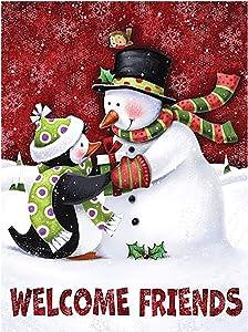 Welcome Friends Christmas Snowman Penguin Garden Flag House 28