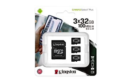 Kingston Canvas Select Plus Tarjeta microSD, SDCS2/32GB-3P1A Class 10 (3X Tarjetas,SD con Adaptador SD)
