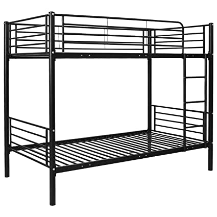Amazon Com Costzon Twin Over Twin Bunk Bed Metal Frame With Ladder