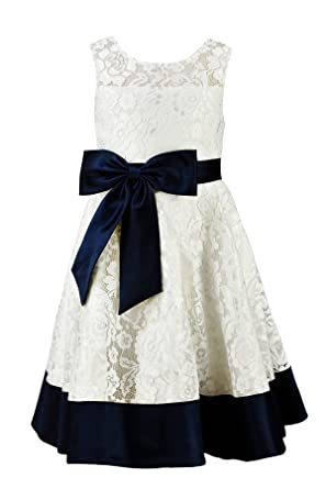 Amazon princhar ivory lace navy flower girl dress little girl princhar ivory lace navy flower girl dress little girl toddler formal dress us 2t navy mightylinksfo