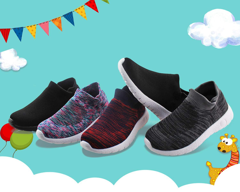Jabasic Kids Walking Shoes Boys Girls Breathable Slip On Knit Sock Sneakers (Multicolor,1) by Jabasic (Image #6)