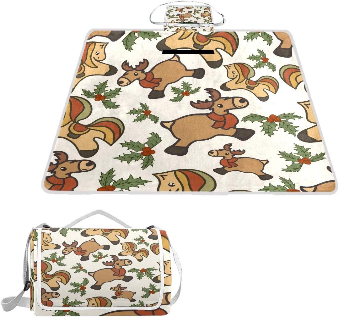 XINGAKA Coperta da Picnic Tappetino Campeggio,Reticolo Senza Giunte della Sfera dell'albero di Vettore di Natale,Giardino Spiaggia Impermeabile Anti Sabbia 18