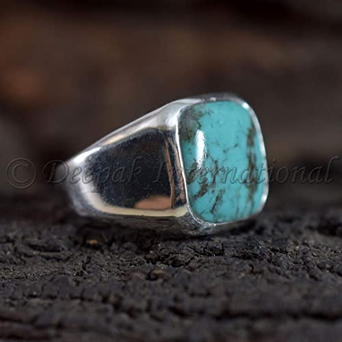 Natural Copper Blue Turquoise Gemstone Ring Solid 925 Sterling Silver Handcrafted Jewelry Size 7