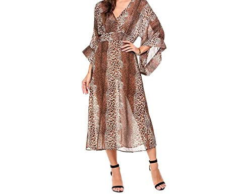 30eae0ce5e0 Leopard Chiffon Women Sexy Transparent Deep V-Neck 3 4 Sleeve Wrap Bohemian  Beach