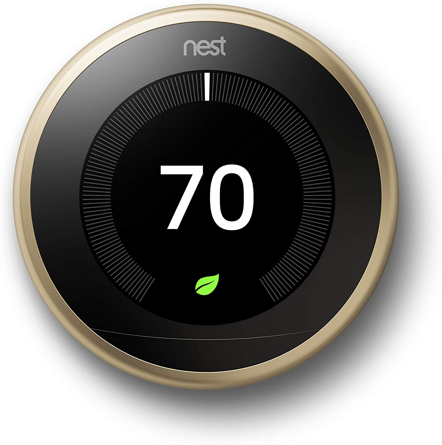 Google, T3032US, Nest Learning Thermostat, 3rd Gen, Smart Thermostat, Brass, Works With Alexa