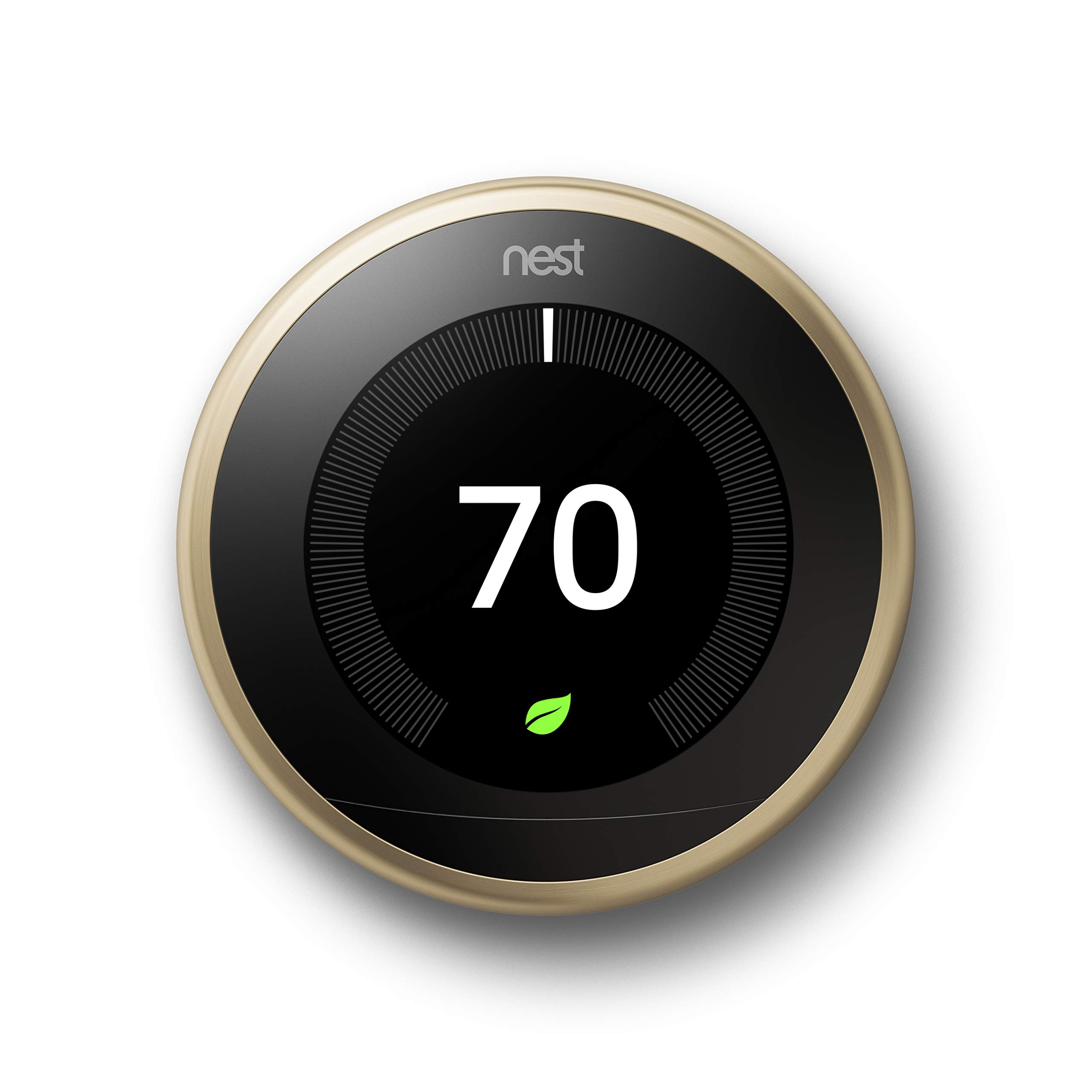Google, T3032US, Nest Learning Thermostat, 3rd Gen, Smart Thermostat, Brass, Works With Alexa by Google