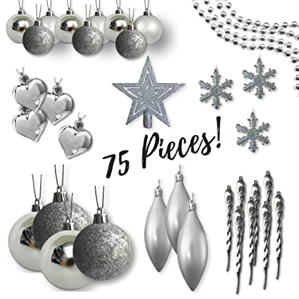 shatterproof christmas ornaments assorted set of 75 silver xmas tree decorations star tree topper - Silver Christmas Tree Decorations