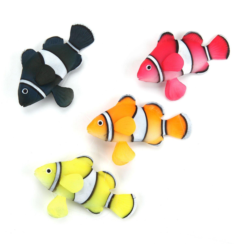 Aquarium Decorations, 4 Piece of Glowing Clown Fishes Ornament Decoration for Aquarium Fish Tank