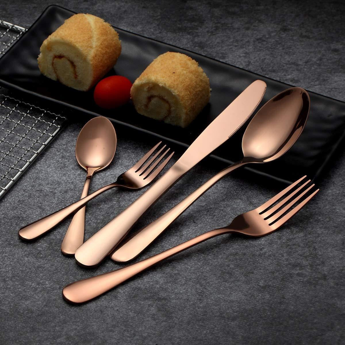 HOMQUEN Set de cubiertos y cubiertos de oro rosa de 30 piezas, Set de cubiertos de acero inoxidable 18/0, servicio para 6 personas, set de cubiertos y ...