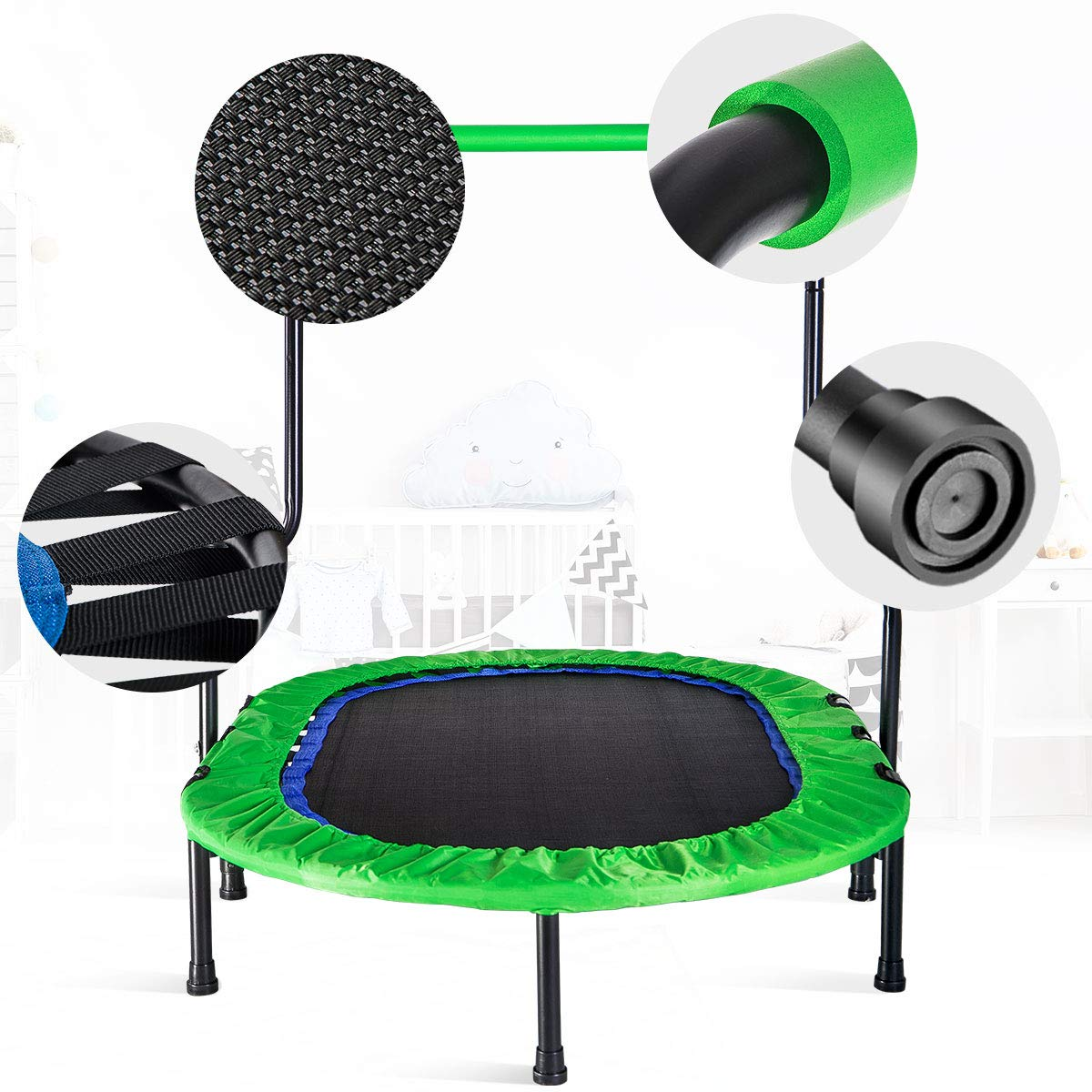 Merax Mini Rebounder Trampoline with Handle for Two Kids, Parent-Child Trampoline (Green) by Merax (Image #4)