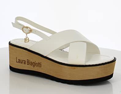Laura Biagiotti Sakura, Sandales Bout Ouvert Femme, (White 09), 40 EU