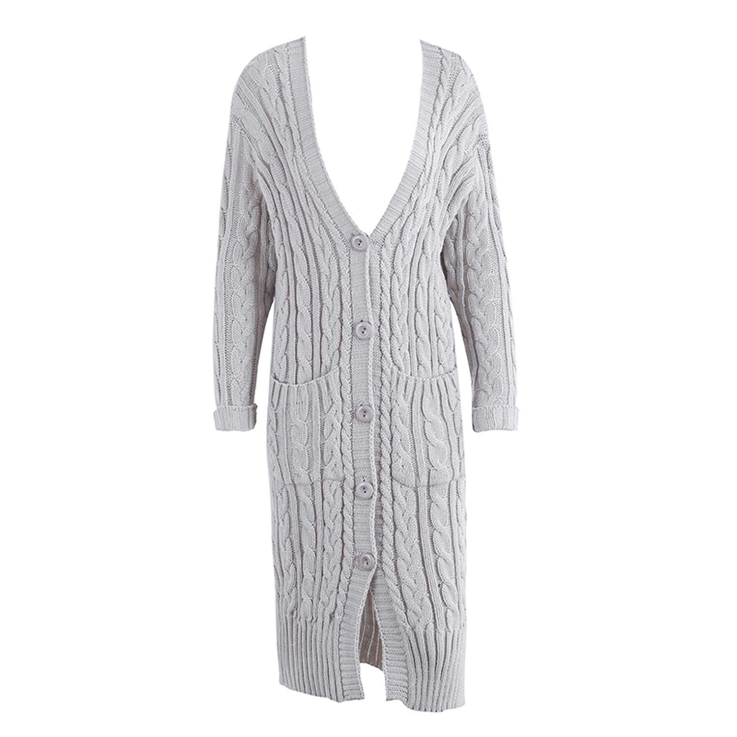 Women V Neck Knitted Long Cardigan Autumn Winter Sweater with Pockets Outerwear