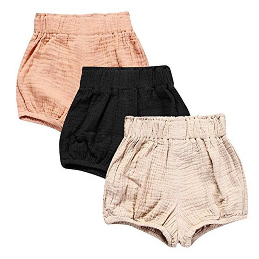 3 Pack of Kleinkind Baby M/ädchen Jungen Cotton Linen Sommer Blend Cute Bloomer Shorts
