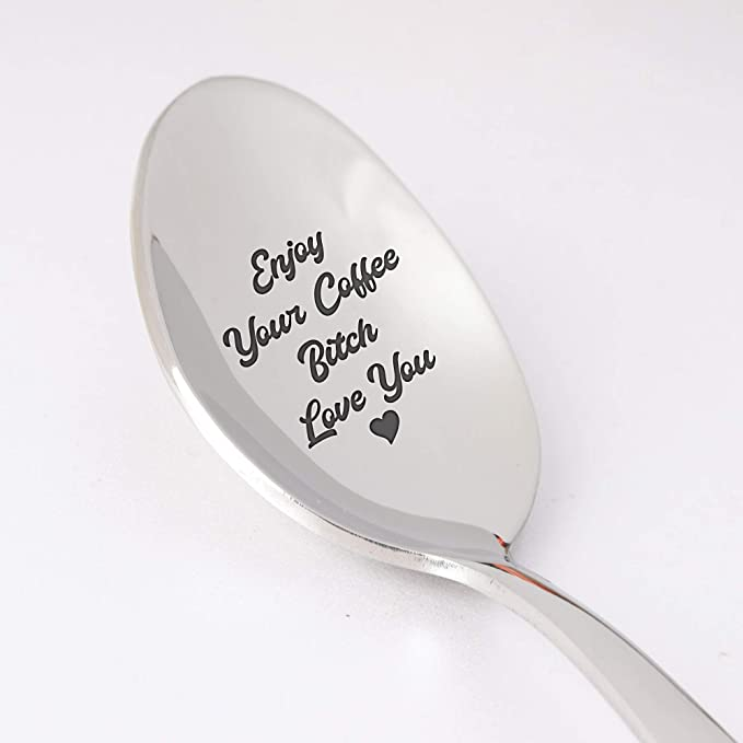Love of My Life Valentines Teaspoons Stainless Steel Engraved Coffee Spoons Wedding Engagement Good Morning Birthday Anniversary Suitable for Valentines Day