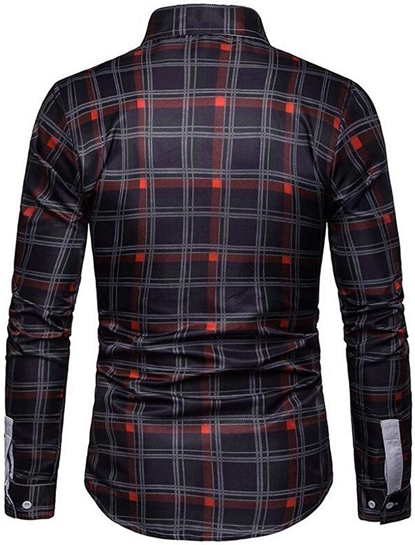 YYG Men Long Sleeve Slim Fit Casual Business Button Up Flannel Checkered Shirt