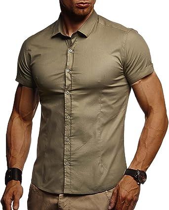 Leif Nelson Camisa de Manga Corta de los Hombres LN-3520