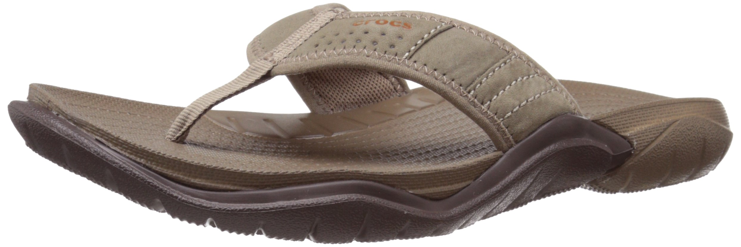 Crocs Men's Swiftwater M Flip Flop, Walnut/Espresso, 12 M US