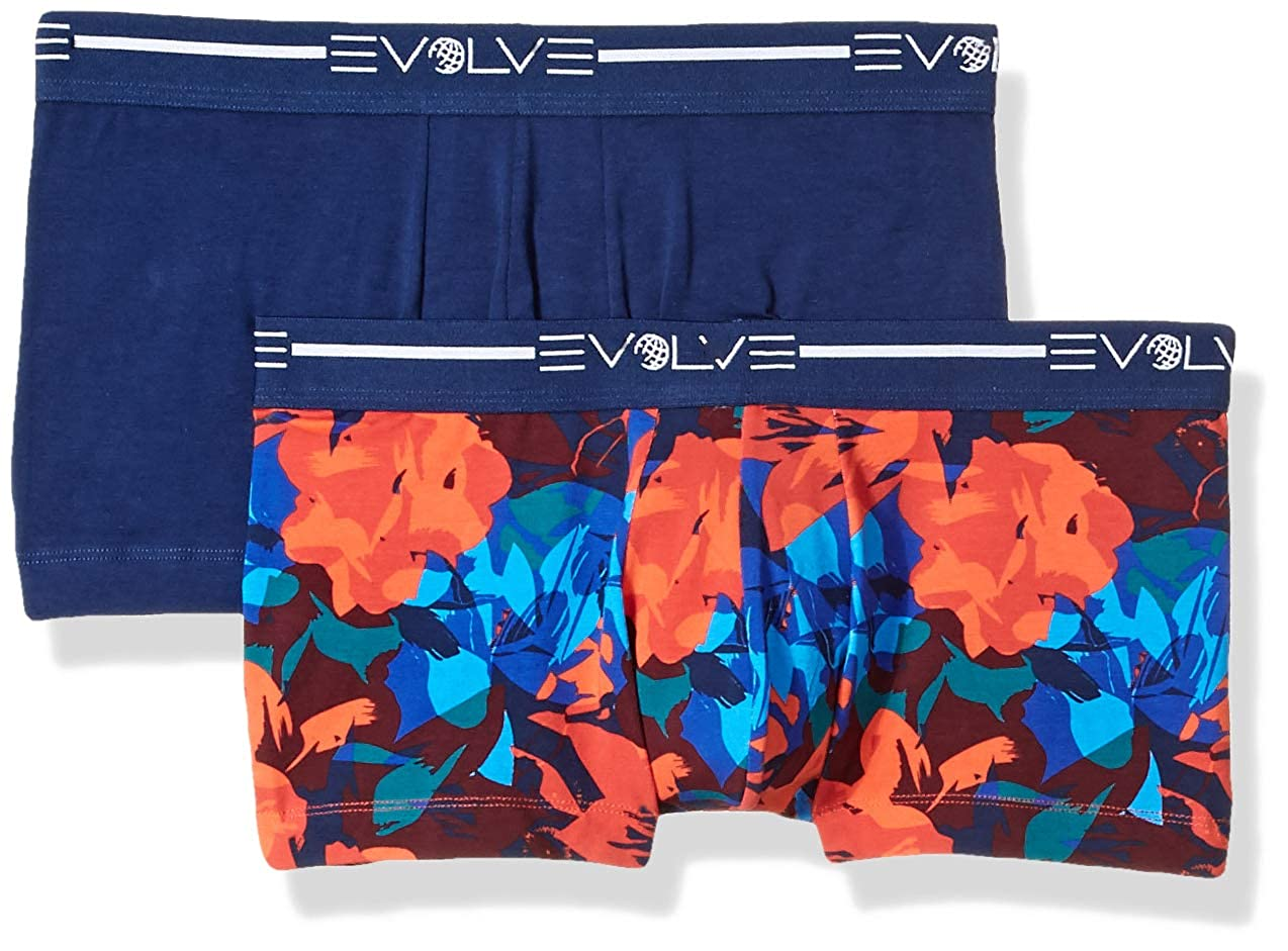 X ist 050933 X 2 IST Evolve Mens Cotton Stretch No Show Trunk Underwear Multipack Underwear EVOLVE By 2