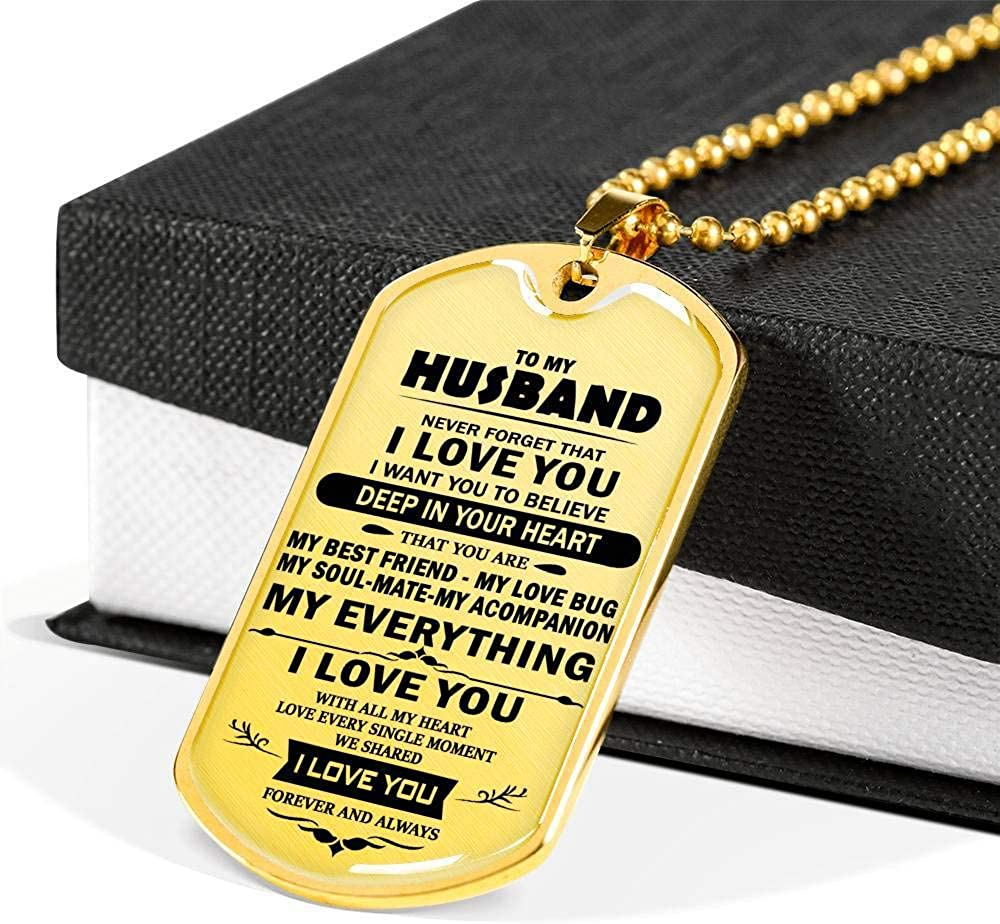 Husband for Christmas Birthday Graduation I Love You Husband Military Necklace Pendant Gold Husband Dog Tag Necklace Chain from Wife