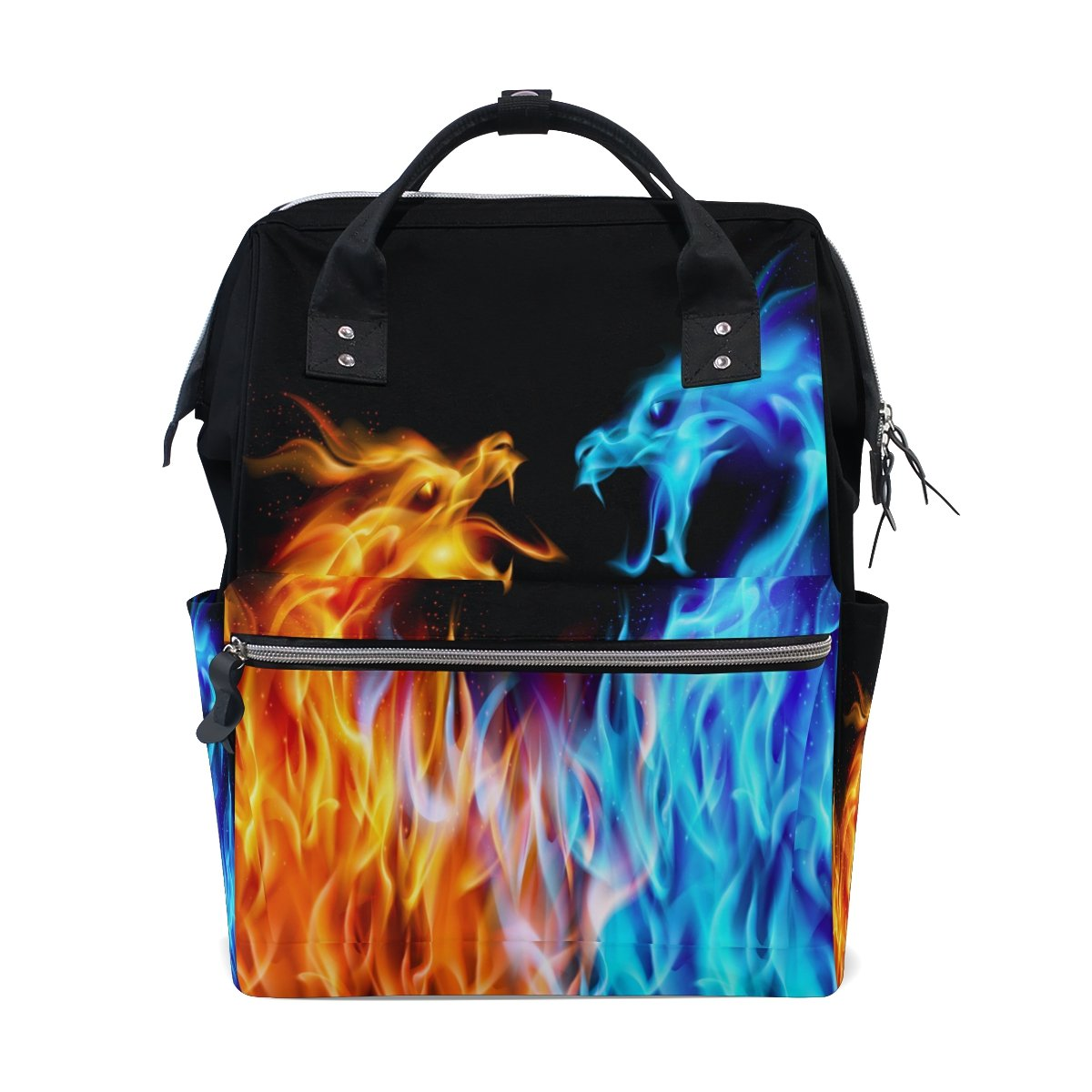 WOZO Abstract Blue Red Fire Dragon Multi-function Diaper Bags Backpack Travel Bag