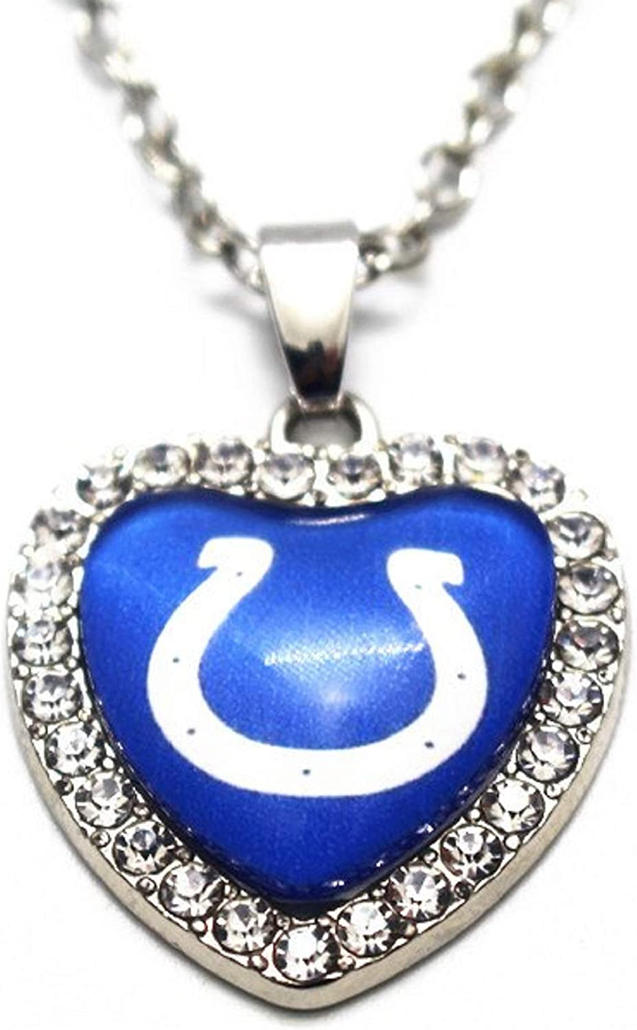 BAS Indianapolis Colts Rhinestone Glass Heart Necklace 20 Inch Alloy Chain