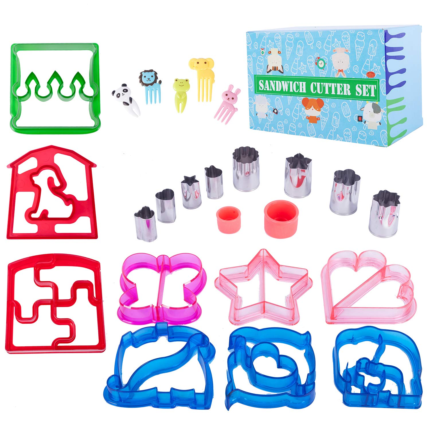 JONYEE Sandwich Cutters for Kids - 9 Fun Lunch Cutters with Free 8 Stainless Steel Vegetables Fruit Shapes Cookie Cutters Bread Crust Shaper for Biscuits Pancakes and 5 Animal Food Picks