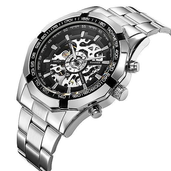 Reloj de pulsera mecánico de Affute, esfera con esqueleto, analógico, acero inoxidable, plateado, para hombre: Amazon.es: Relojes