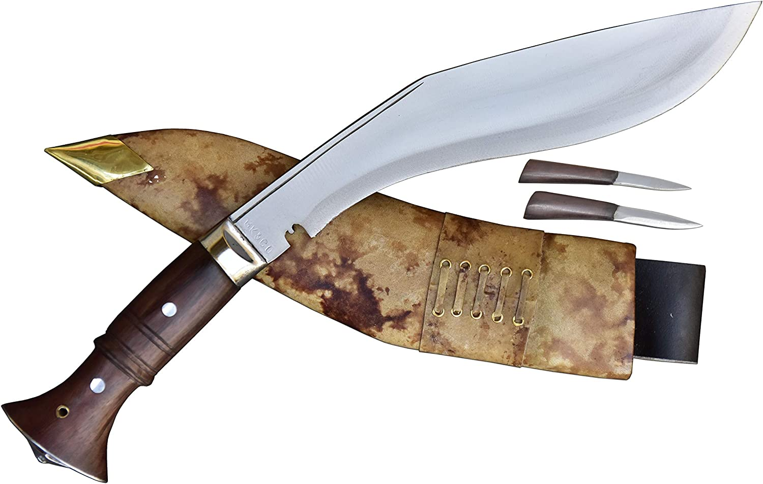 This is an image of a 12 inches kukri knife with brown-colored handle, two smaller knives, and a sheath.