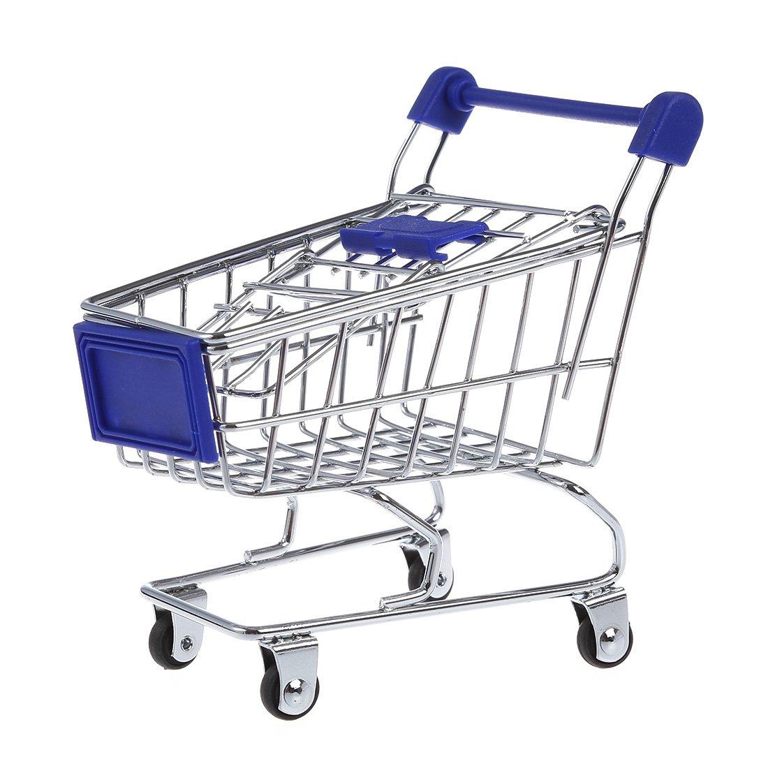 SODIAL azul Carrito de compra R carrito de compra lapicera hamster de juguete de supermercado para ninos