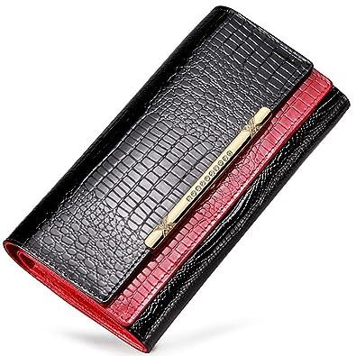 a3d1d2a5c35f [MIKA&MAYA] 財布 レディース 二つ折り 長財布 大容量 本革 クロコダイル 柄 かぶせ