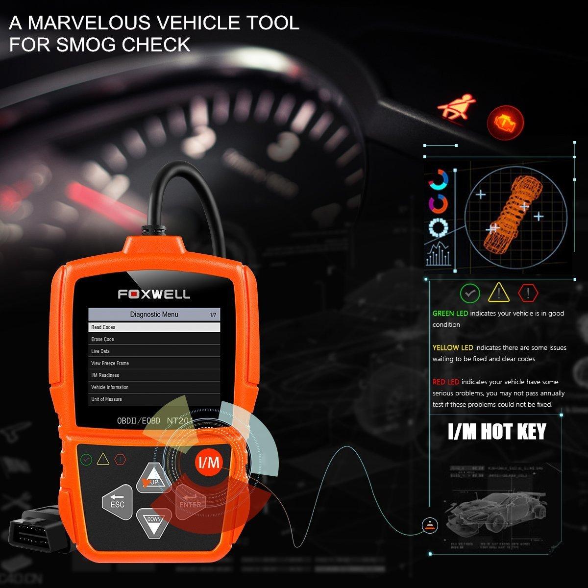 Amazon.com: FOXWEL NT201 Auto OBD2 Scanner Check Car Engine Light Fault Code  Reader OBD II Diagnostic Scan Tool: Automotive