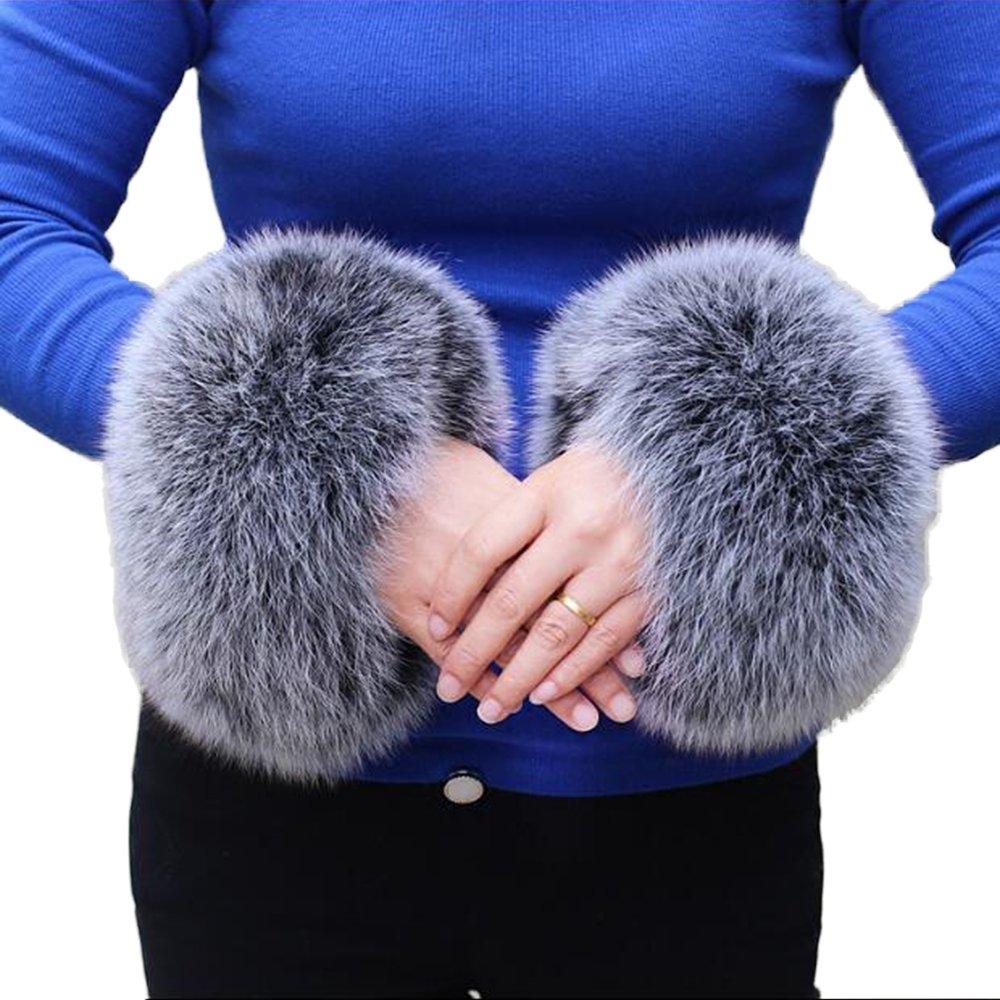 Real Fox Fur Arm Warmer Women's 2017 Wrist Warmer Genuine Fox Fur Cuff Arm Warmer (Black Frost)