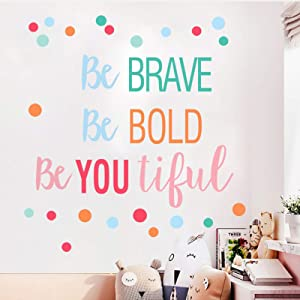 Inspirational Quotes Polka Dots Wall Stickers Be Bold Be Brave Be You Tiful Letterings Wall Decals, Watercolor Wall Poster for Teens Bedroom, Postive Life Attitude Art Murals