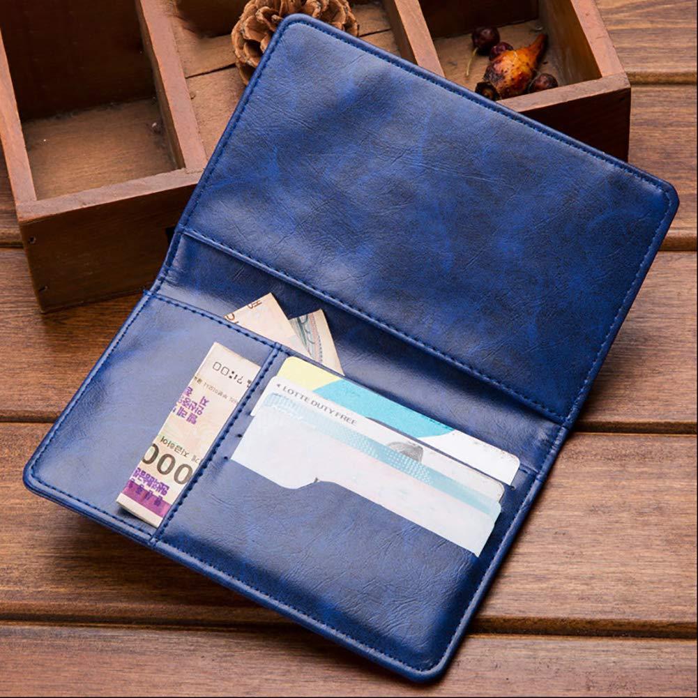 iodvfs Retro Solide Couleur Faux en Cuir Voyage Passeport Titulaire Carte de cr/édit Portefeuille Cash Clip Caf/é