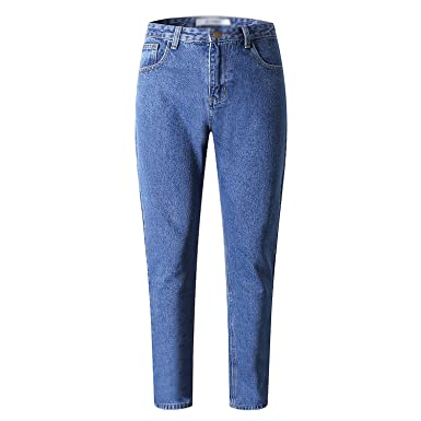 04993ebe408c Image Unavailable. Image not available for. Color  Chiffoned 2018 Slim  Straight Pants Vintage High Waist Jeans Women Full ...