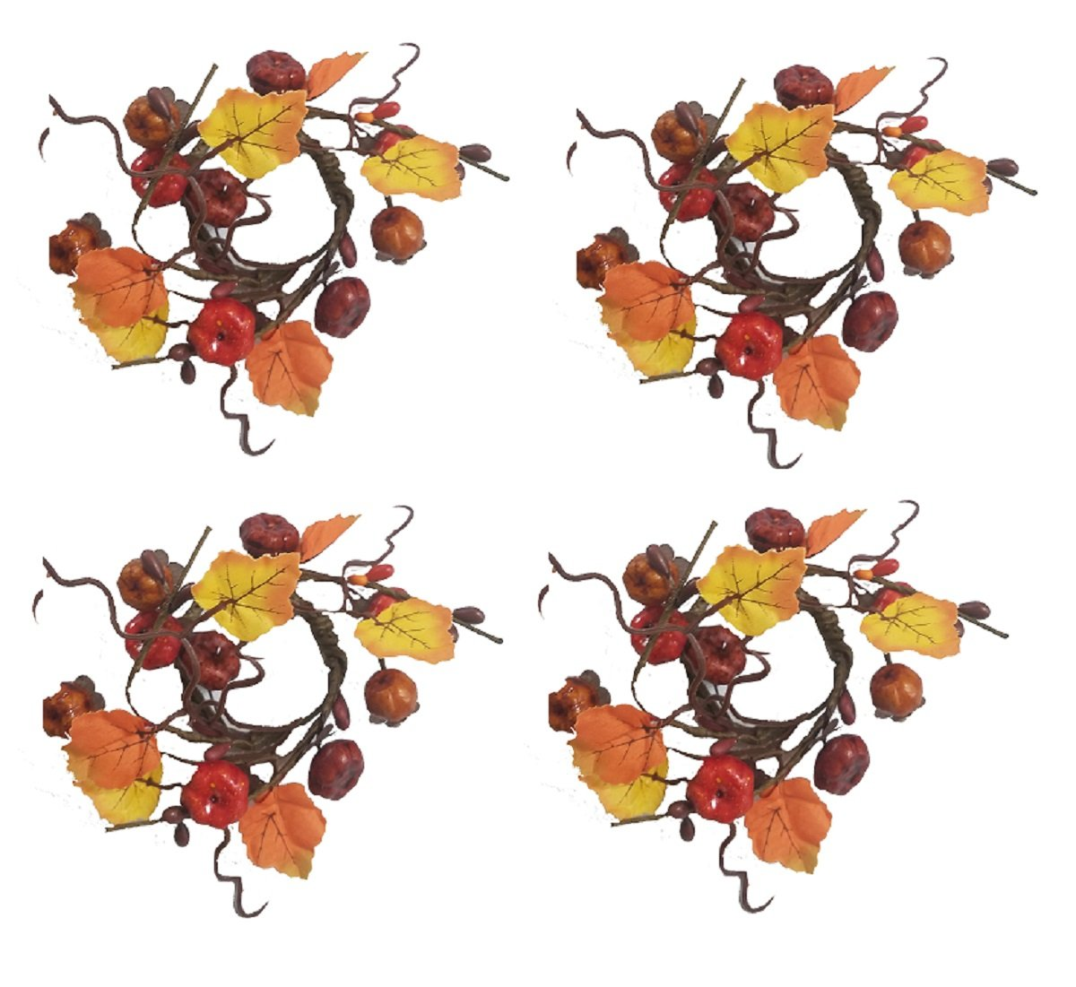 Harvest Pumpkin Leaves Vine Design Set of 4 Napkin Rings