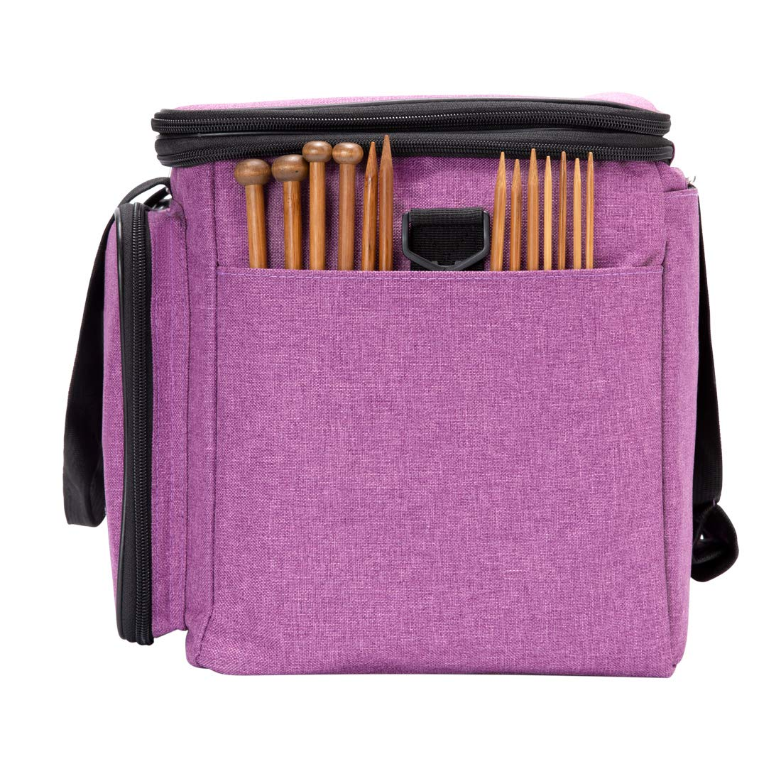 BENGDA Knitting Bags and Totes,Crochet Yarn Organizer with Inner Divider for Knitting Needles,Project and Supplies,Easy to Carry, High Capacity (Purple with Cover) by BENGDA (Image #4)