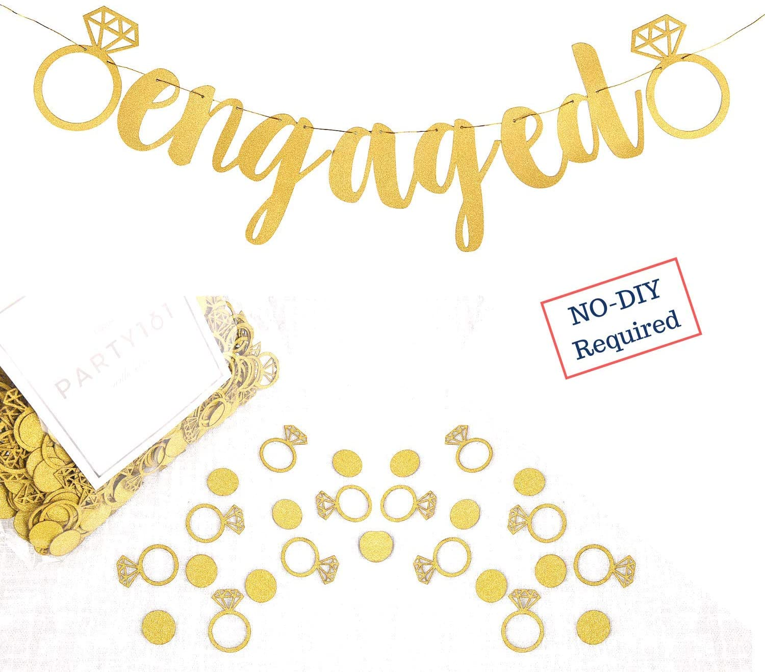Engagement Party Decorations - Extra-Large Engaged Banner + 200 Glittering Gold Ring Confetti - Bridal Shower Sign & Bachelorette Party Favors - Bride to be Engagement Banner Decor (Gold)