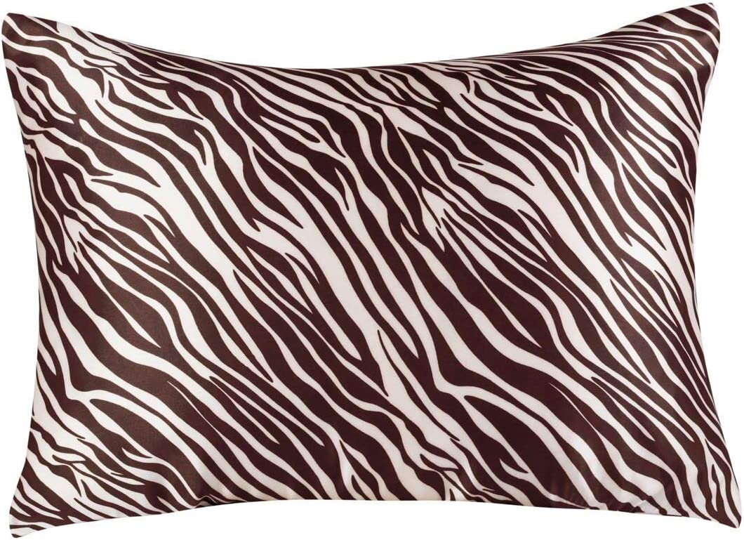 Shop Bedding Luxury Satin Pillowcase for Hair – Queen Satin Pillowcase with Zipper, Brown Zebra Print (1 per Pack) – Blissford