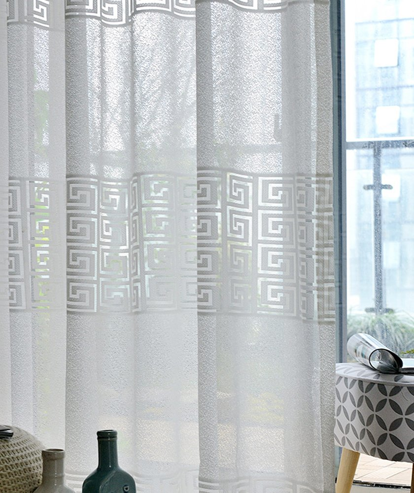 ASide BSide Permeable Window Decoration Oriental Style Regular Maze Pattern Sheer Curtains Rod Pocket Top For Living Bedroom and Dining Room (1 Panel, W 52 x L 84 inch, White)