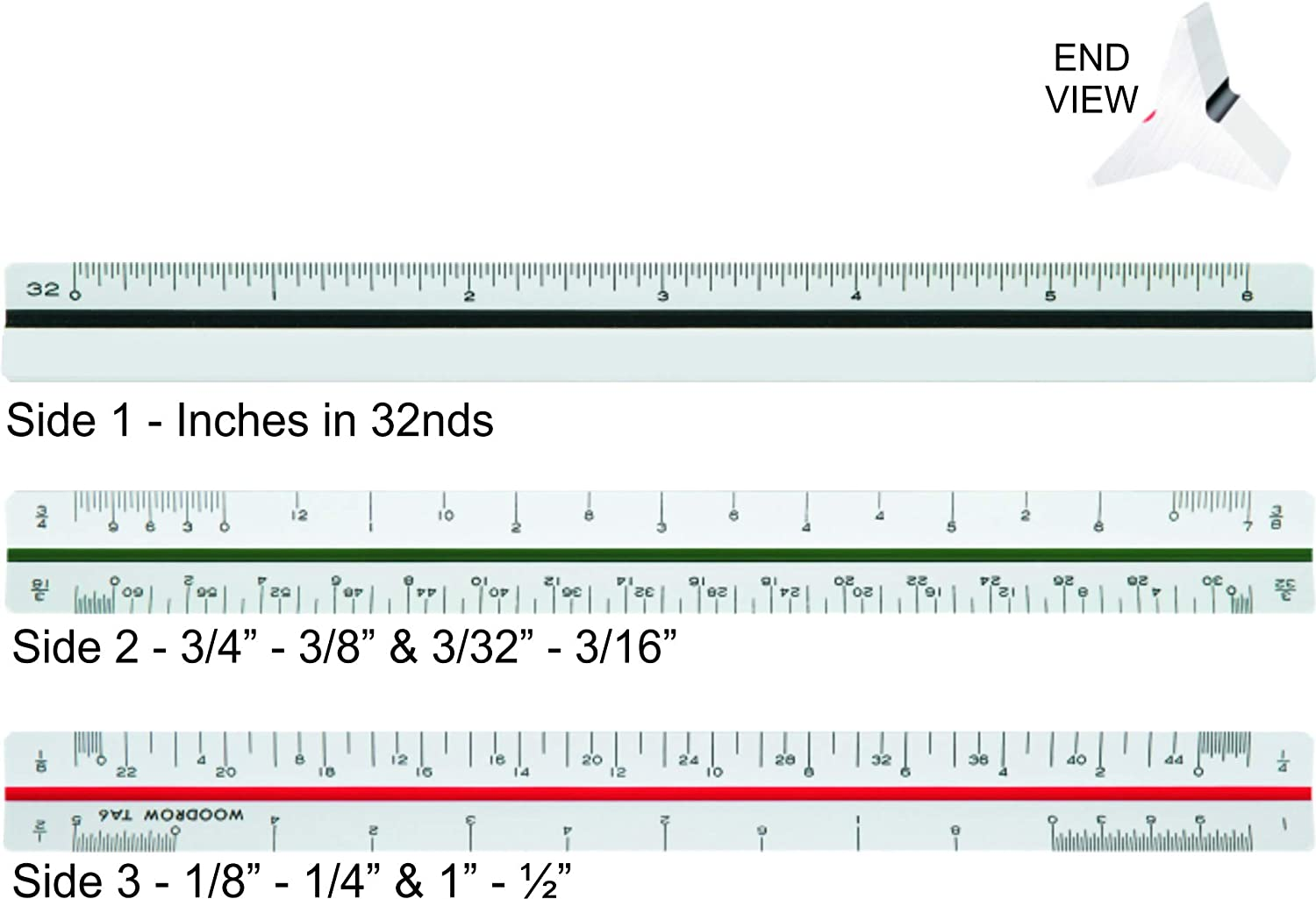 Amazon Com Woodrow 6 Inch Architectural Triangular Scale Ruler Office Products