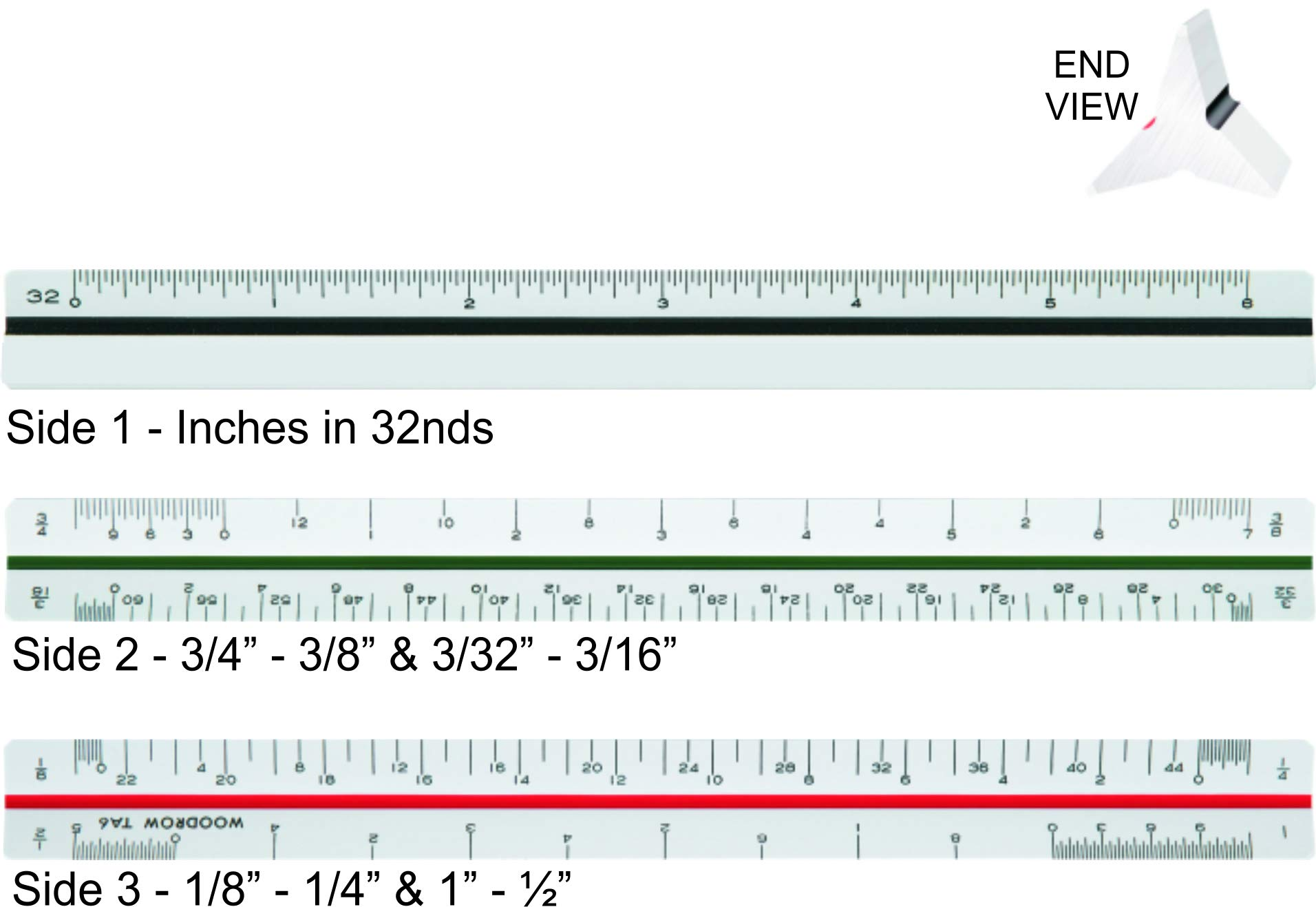 Woodrow 6 Inch Architectural Triangular Scale Ruler by Woodrow