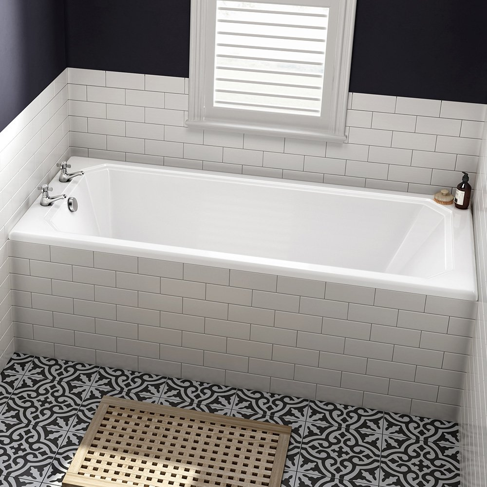 1700 mm Luxury Square Single Ended Traditional Straight Bath White Bathroom Bathtub iBathUK