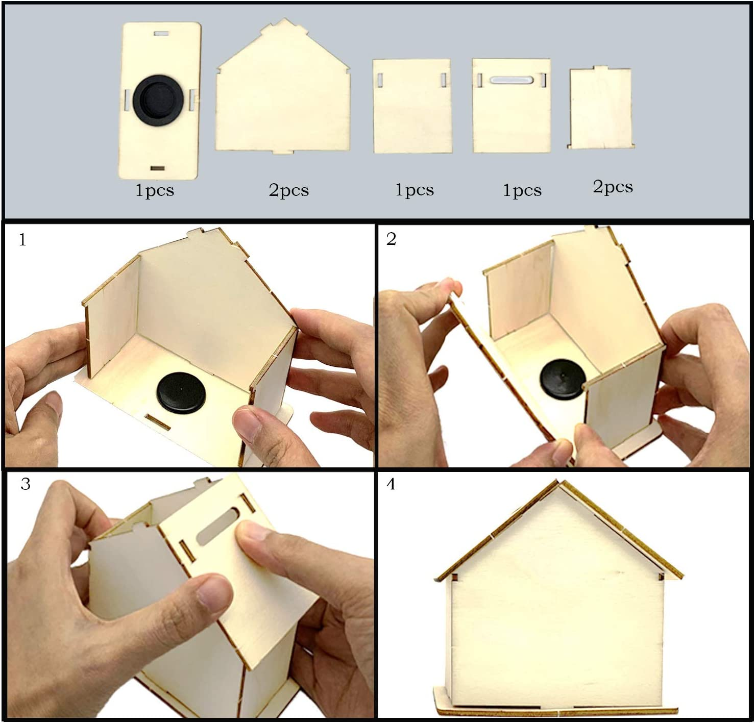 DToppx DIY House Kit for Kids 4 Pack Wooden House Coin Money Bank with Stickers Birthday Gift Craft for Boys Girls Money Coin Box Craft Kids Arts and Crafts