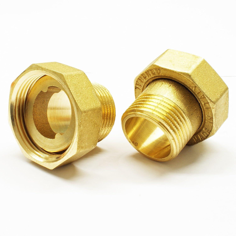 Stabilo-Sanitaer 2x Wasserz/ählerverschraubung 1//2 AG x 3//4 IG Wasserz/ähler Messing Verschraubung