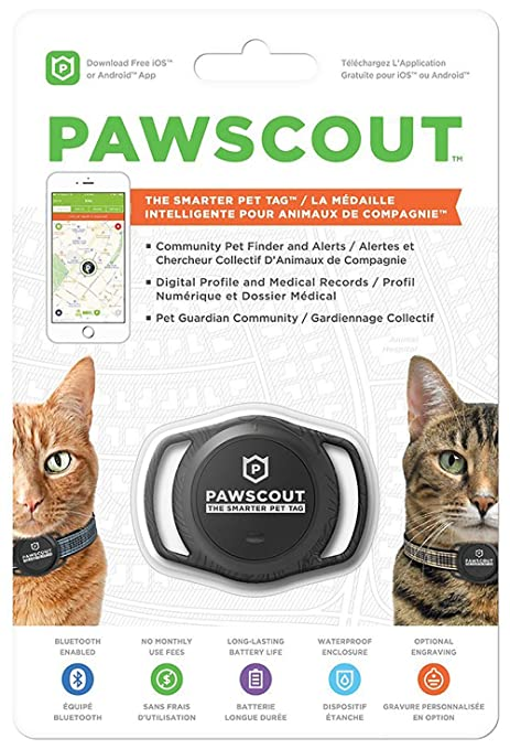 Pawscout   The Smarter Pet Tag   Outdoor Pet Tracker For Cats   Bluetooth Enabled   Size Of A Silver Dollar   Outdoor Virtual Pet Leash   Makes Tracking Your Pet Simple   No Monthly Fees by Pawscout