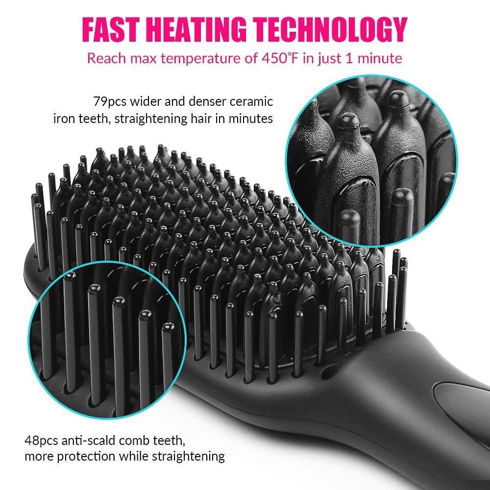 Amazon.com: Hair Straightener Brush, JUMPHIGH Ionic Hair ...