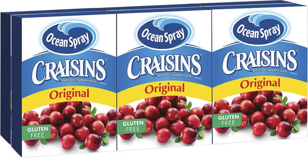 Ocean Spray Craisins Dried Cranberries, 1 Ounce Brick Pack (2 Six-Packs)