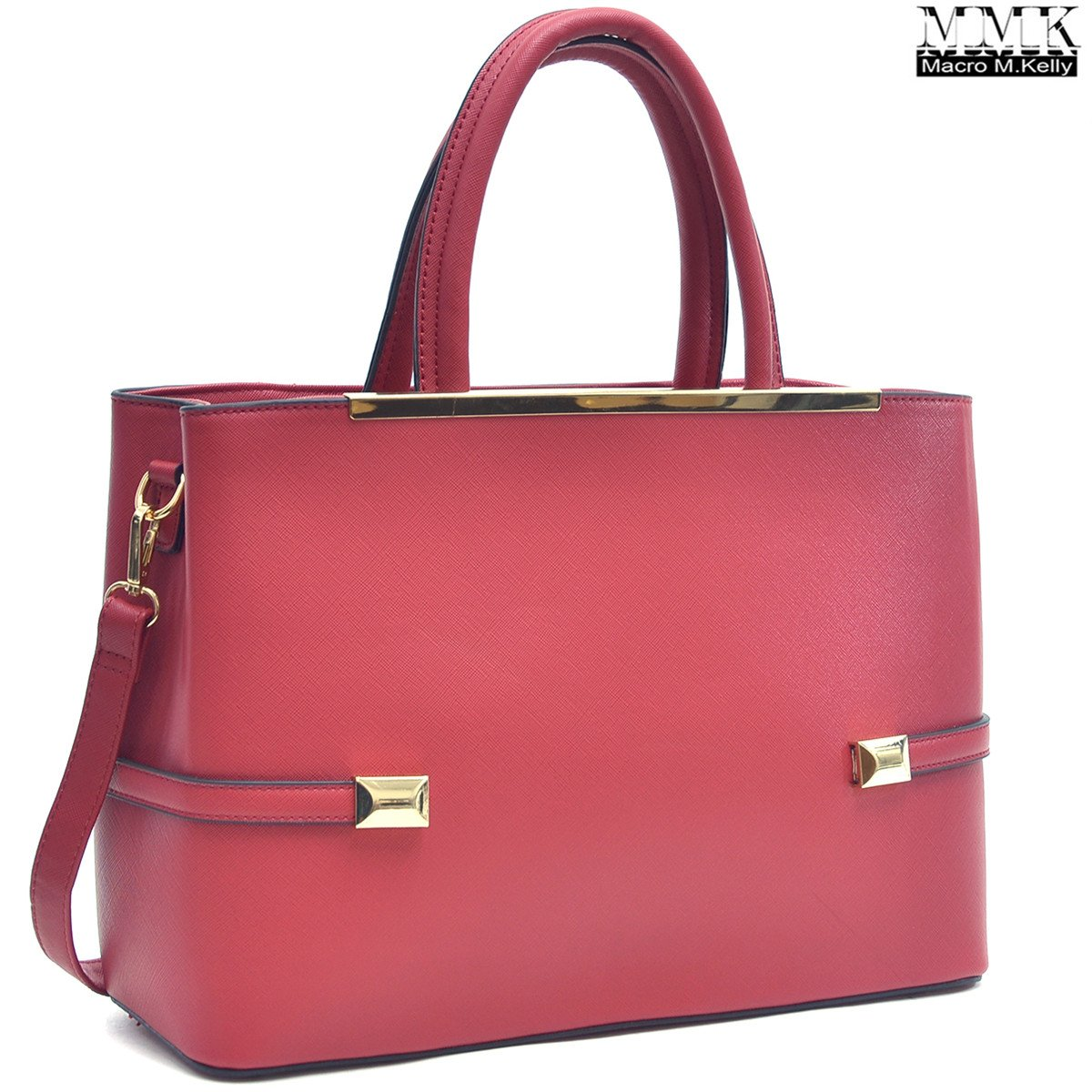 MMK Collection Women Solid Color Large Size PU Leather Simple Concise Business Style(8895N) with Gold Tone Framed Tote Bag Top Handle Bag Handbag with Shoulder Strap (Red)