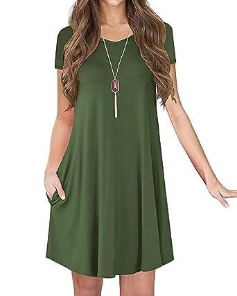 58957ec96bcc POSESHE New Women s Short Sleeve Casual Loose Pocket Tunic Dress Army Green  S